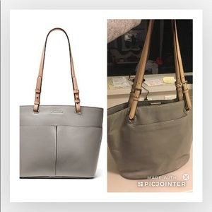 Micheal Kors grey with tan straps patent tote